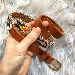 Boho Accessories - Genuine Leather Beaded Tribal Aztec WaistBelt XS/S